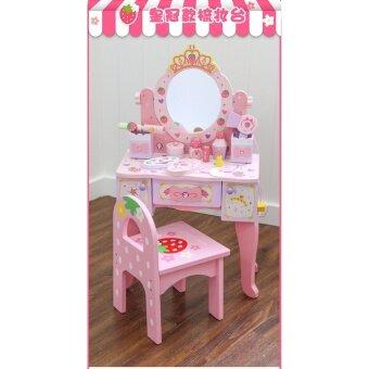 โต๊ะแป้งสตอเบอรี่ปริ้นเซสขาสูง พร้อมเก้าอี้