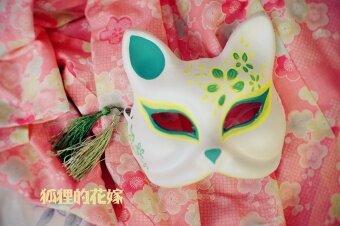 และลมสุนัขจิ้งจอกสไตล์ญี่ปุ่นมือวาดหน้ากากหน้ากาก