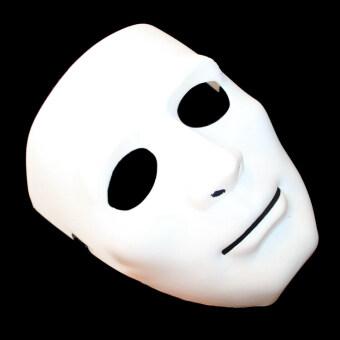 สีขาวทั้งหมดสวมหน้ากากหญิงหน้ากากใบหน้าครึ่งหนึ่ง