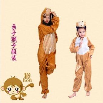 ลิงสีทองฮาโลวีนและเด็กเล็กเด็กลิงเต้นรำเครื่องแต่งกาย