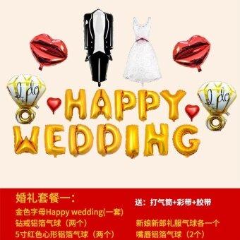 เจ้าบ่าวแต่งงานรูปแบบห้องจัดงานแต่งงานตกแต่งภาษาอังกฤษลูกโป่งลูกโป่งอลูมิเนียม