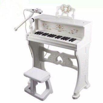 เปียโนไฟฟ้าเด็ก + เก้าอี้ - สีขาว