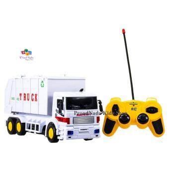 ProudNada Toys ของเล่นเด็กรถบรรทุกเก็บขยะ(สีขาว)บังคับวิทยุ SUPER TRUCK CONSTRUCTION NO.9885
