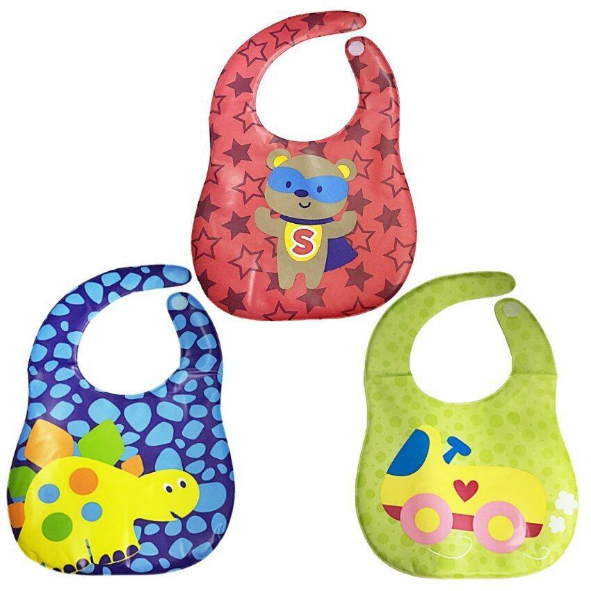 ผ้ากันเปื้อนเด็ก PVC หุ้มฟองน้ำ (3 ชิ้น) ลายหมี + ไดโนเสาร์ + รถสีเหลือง