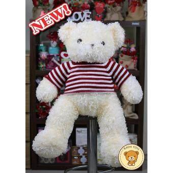 ตุ๊กตาหมีขนปุย ใส่เสื้อไหมพรมสีแดง ขนาด 80 ซม. (สีครีม) ผลิตในประเทศไทย
