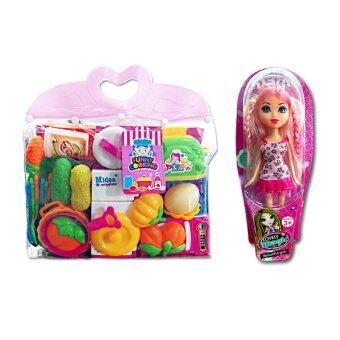 Rakdee เซ็ทของเล่นตุ๊กตาสาวสวย T2072-4+เครื่องครัวหรรษา 860-32