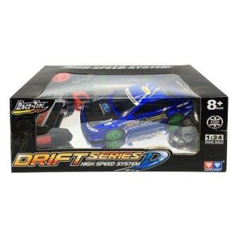รถบังคับวิทยุเด็กเล่น รถแข่งของเล่น RC Drift Series D High Speed System Race Tin Drift RC Car รถแข่ง ดริฟท์ บังคับวิทยุตราเพชร 1 ต่อ 24 (สีน้ำเงิน)