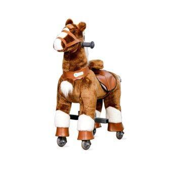 Rockingkids ม้าโยกล้อเลื่อน ขี่ได้เหมือนจริง รุ่นsantorini size S -สีน้ำตาลเข้มขาว