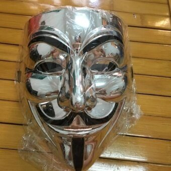 Silver Plating Paintball Mascaras Halloween Masks V For Vendettaanonymous Movie Guy Fawkes Mask Gifts - intl