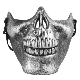 Skeleton Half Face Actual Combat Warrior Halloween Masks Silver - intl