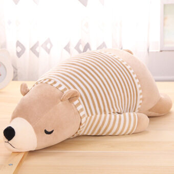 Sleeping 110cm Polar Bear with Detachable Striped Shirt Soft PlushToys - Brown - intl