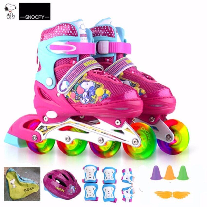 Snoopy Roller รองเท้าสเก็ตโรลเลอร์เบลดสำหรับเด็ก พร้อมหมวกกันน็อค ชุดสนับมือ-เข่า-ศอก และกระเป๋าโรลเลอร์เบลด รุ่น Full Set All Flash ลายหมาน้อยน่ารัก ขนาด S (สีชมพู/สีฟ้า)
