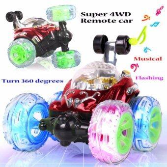 รถบังคับวิทยุ stunt ล้อหน้าหมุนได้ 360 องศา พร้อมเสียงเพลง และไฟดิสโก้ ขนาดใหญ่