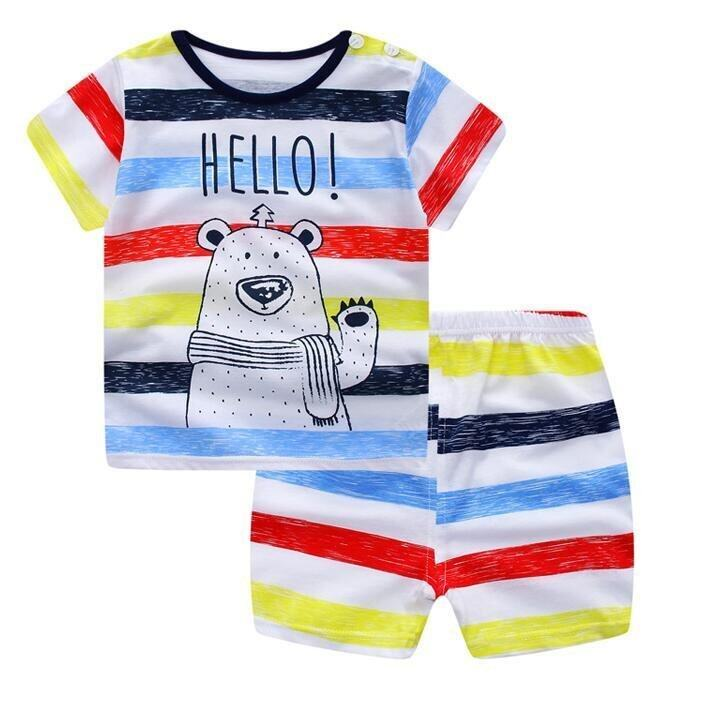 Summer Baby Boy Girl Clothing Sets Short Top + Pants 2pcs/set Cartoon Sport Suit Baby Clothing Set Newborn Infant Clothing - Stripe - intl