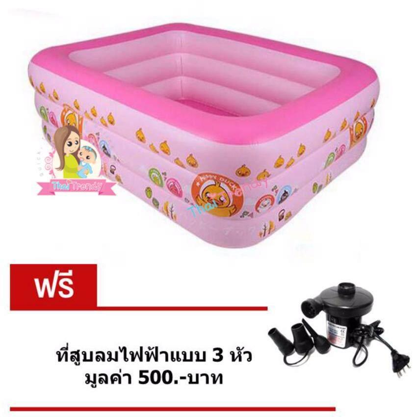 Thaitrendy สระว่ายน้ำเด็กเป่าลม ขนาด 190x150x65 ซม. แถมฟรี ที่สูบลมไฟฟ้าแบบ 3หัว
