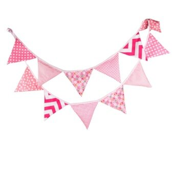 The New Fashion Birthday Party Holiday Decoration Triangle String Flag Pink - intl