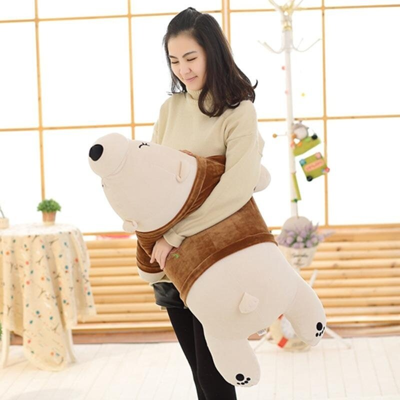 The Polar Bear Shape Holding Pillow Stuffed Toy Pillow for Gifts for Your Birthday 35cm Brown - intl