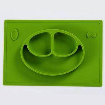 Tiny Diner Mat - One-piece silicone placemat + plate (Green) - Intl