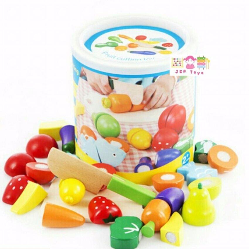 Todds & Kids Toys ของเล่นไม้เสริมพัฒนาการ ชุดหั่นผัก ผลไม้ ในถัง 11 ชนิด