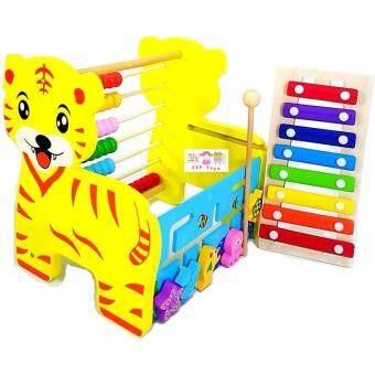 ToddsKids Toys 3 in 1 ของเล่นไม้เสริมพัฒนาการเสือน้อยระนาด รางเลื่อน รางลูกคิด