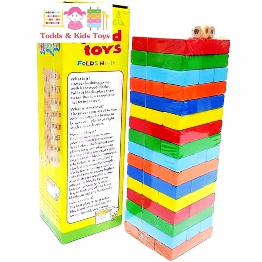 Todds & Kids Toys ของเล่นไม้ บล็อกไม้ตึกถล่มหรือไม้จังก้า แบบสี 51 ชิ้น