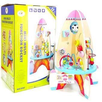 ToddsKids Toys ของเล่นไม้เสริมพัฒนาการ จรวดกิจกรรมไม้ 8 ด้าน
