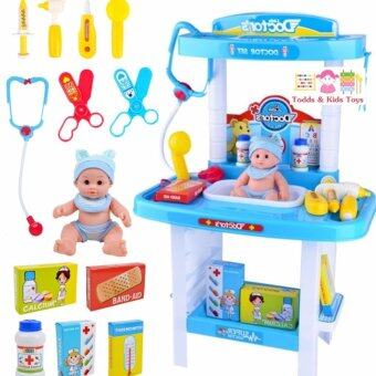 ToddsKids Toys โต๊ะคุณหมอแบบสองชั้นพร้อมอุปกรณ์และตุ๊กตาคนไข้