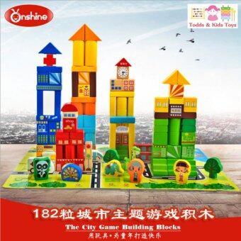 ToddsKids Toys ของเล่นไม้ บล็อคไม้สร้างเมือง 182 ชิ้น