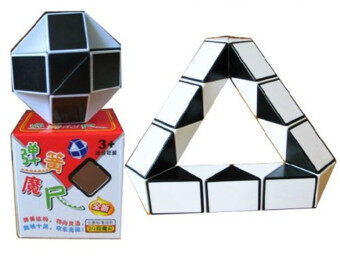 Twist Puzzle 15-Inch Snake Magic Ruler Cube Black/white