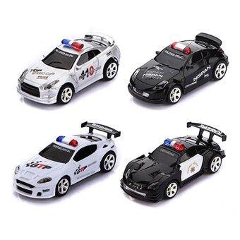 Uni รถบังคับวิทยุ รถบังคับดริฟ รถบังคับไฟฟ้า Mini RC Remote Radio Control Racing Police Car Siren LED Light Children Toy (BlackWhite) - Intl