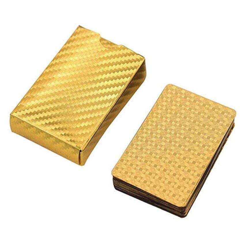 ขาย Waterproof Gold Playing Cards Plated 24k Gold Foil Poker For Casino Poker Game - intl