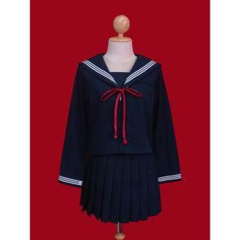 WeCosplay ชุดแฟนซี ชุดคอสเพลย์ ชุดนักเรียนญี่ปุ่นแขนยาวสีกรมท่า โบว์ผูกสีแดง พร้อมถุงเท้ายาวสีดำ