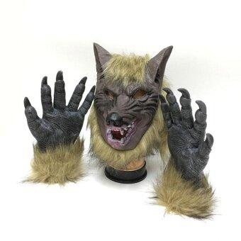 Wolf Devil Latex Masks Simulation Halloween Gloves/Headgear Props Horror - intl