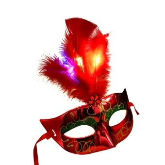 Women Venetian LED Mask Masquerade Fancy Dress Party PrincessFeather Masks - intl