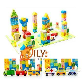 Wood Toy ของเล่นไม้ บล็อกไม้สร้างเมือง 100 ชิ้น พร้อมผังเมือง กล่องสีเหลี่ยม (image 2)