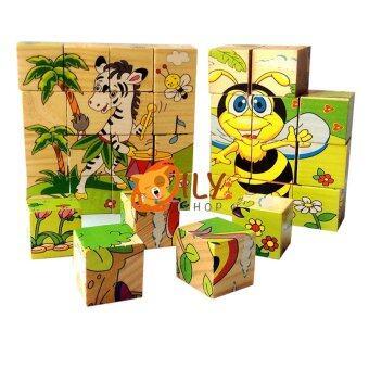 Oily Case ของเล่นไม้ บล็อกไม้ลูกเต๋า ต่อได้ 6 ด้าน คละลายจำนวน 1 ชิ้น