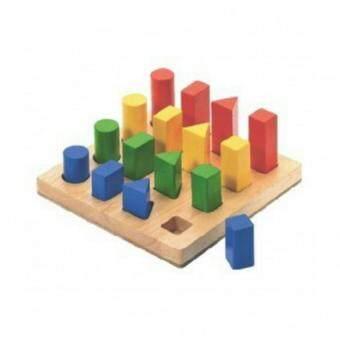 Wood toy ของเล่นไม้ เรียงบล็อคสีรูปทรงเรขาคณิต