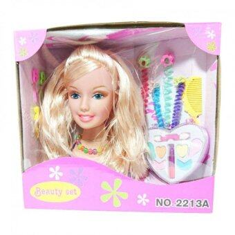 Worktoys หัวบาร์บี้ ตุ๊กตาบาร์บี้แต่งหน้า ตุ๊กตา พร้อม อุปกรณ์แต่งหน้า ทำผม และ เครื่องประดับ (เสื้อสีชมพู)