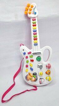 Worktoys กีต้าร์ พร้อมไมโครโฟน ของเล่นเด็กเล็ก ของเล่นทำนองเพลง เสียงสัตว์ (สีชมพู) (image 2)