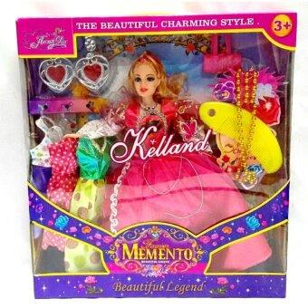 Worktoys ตุ๊กตาเจ้าหญิง ตุ๊กตาแต่งตัว พร้อมเสื้อผ้า และเครื่องประดับ (สีชมพู)