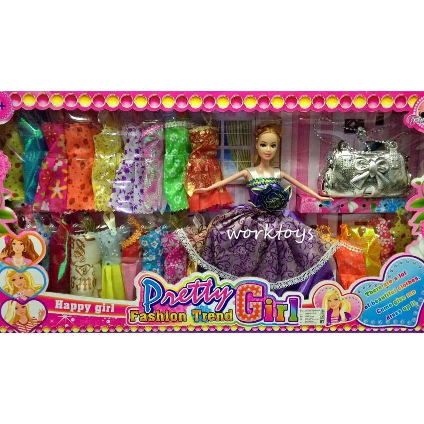Worktoys ตุ๊กตาเจ้าหญิง ตุ๊กตาแต่งตัว บาบี้ พร้อมกระเป๋าแฟชั่น ชุดเสื้อผ้าเปลี่ยน 23 ชุดสุดคุ้ม (คละสี)