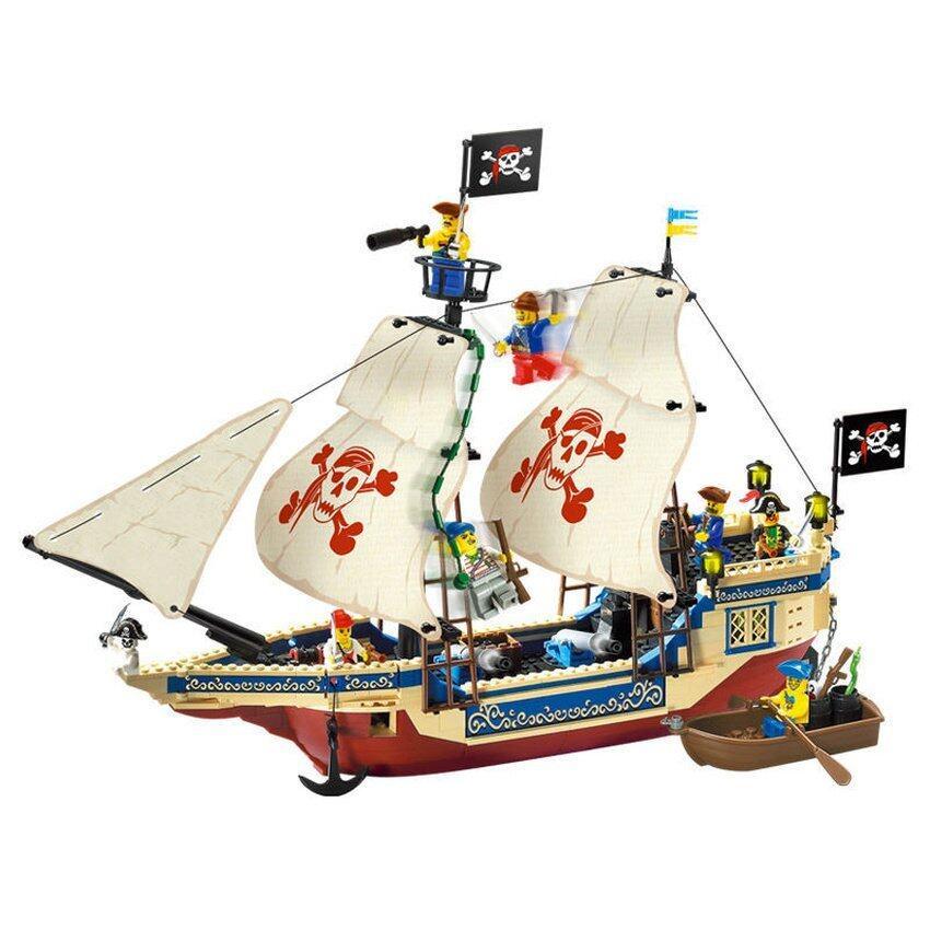 Worktoys ชุดตัวต่อเลโก้ ENLIGHTEN-311 เรือโจรสลัดธงขาว Pirates Series 487 ชิ้น