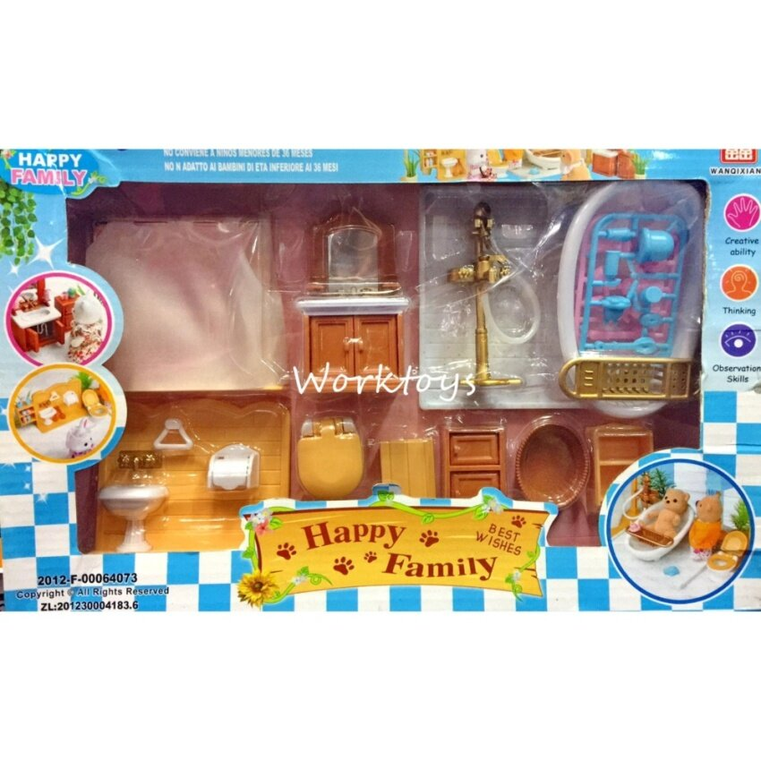 Worktoys ชุดอุปกรณ์เสริม ชุดห้องน้ำและอุปกรณ์ของใช้ภายในห้องน้ำ ใช้เล่นกับบ้านหมี บ้านกระต่าย Happy Family image