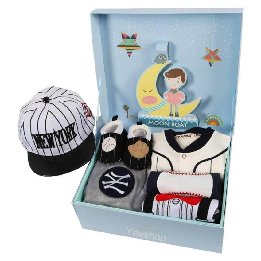 YeeShop ชุดของขวัญสุดคุ้มสำหรับเด็กอ่อน ลายธีมเบสบอล เข้าชุดน่ารัก บรรจุในกล่องป๊อปอัพเพร้อมถุงหิ้วน่ารัก (แขนยาว)