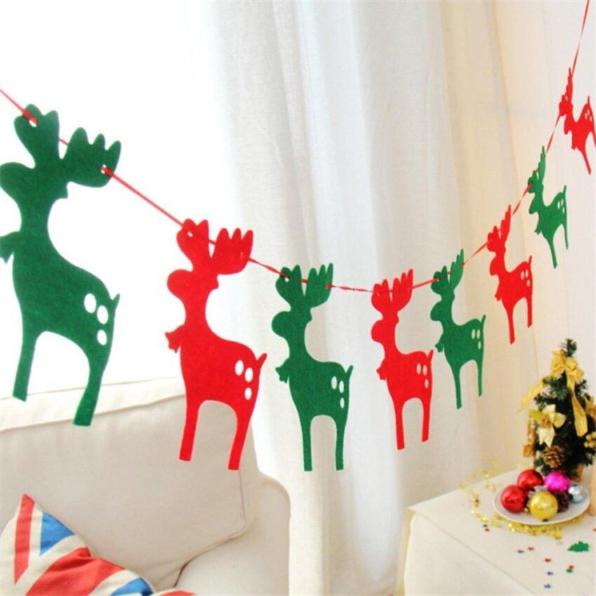 Yika Christmas decoration flag Christmas octopus Christmas tree decoration hotel decorations(deer pull flag) - intl