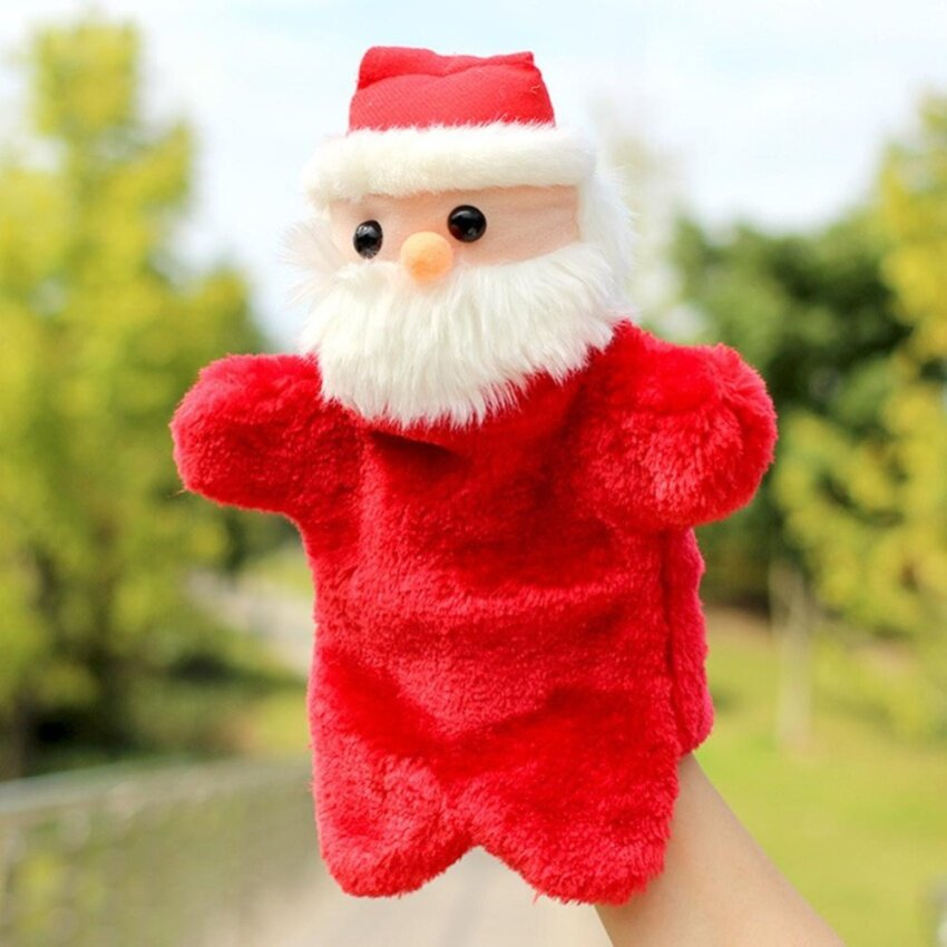 YUNMAI Christmas Creative Plush Toys Santa Claus Doll Gloves Hand Puppet Toy as Perfect Festival Gift Color:Red Height:27cm - intl