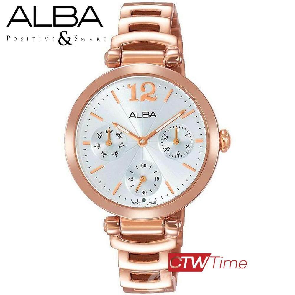 ALBA Fashion Quartz Ladies นาฬิกาข้อมือผู้หญิง สายสแตนเลสสีพิ้งโกล หน้าปัดสีเงิน รุ่น AP6542X1