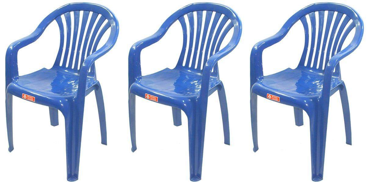 เช่าเก้าอี้ โคราช เก้าอี้สนาม มีพนักพิง และ ที่เท้าแขน รุ่น 999 สีน้ำเงิน แพ็ค3ตัว
