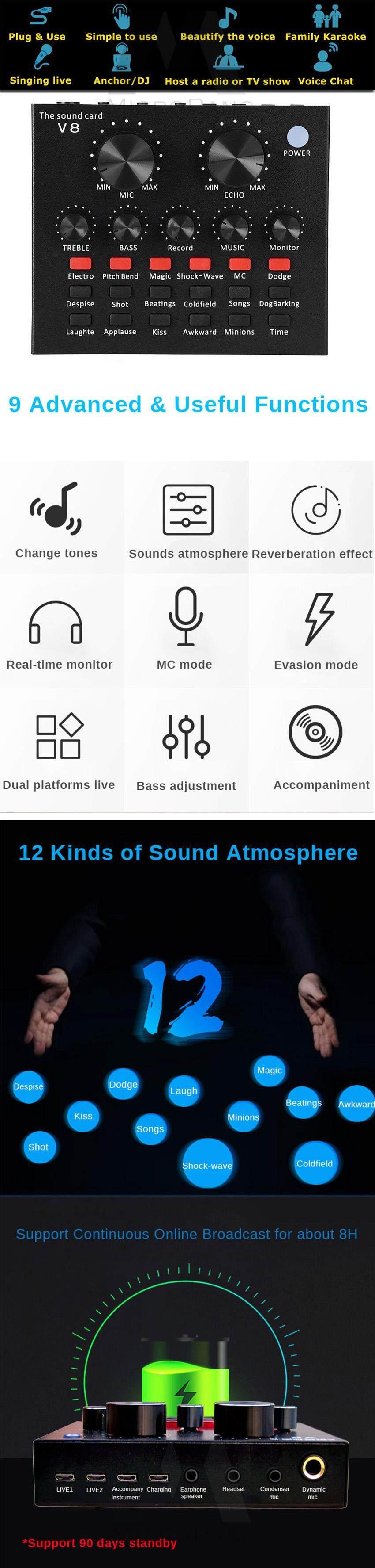 MicroBang Audio Mixer Karaoke Sound Mixer Compact Mixer Live Streaming  Audio Interface with 12 Electric Sounds 12 Sound Effects 3 Tones