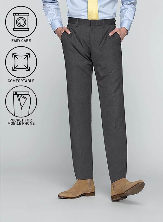 กำแพงเพชร GQSize กางเกงขายาว - GQ  Slacks  Long Pants TR Fabric Solid  130-611326  Gray